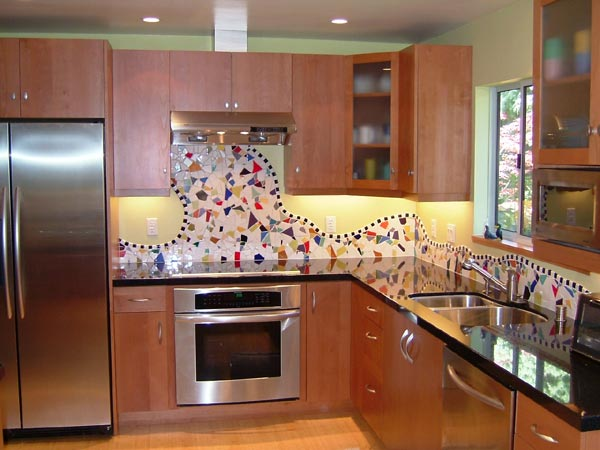 Mosaic Tile Backsplash Kitchen Remodel Marin